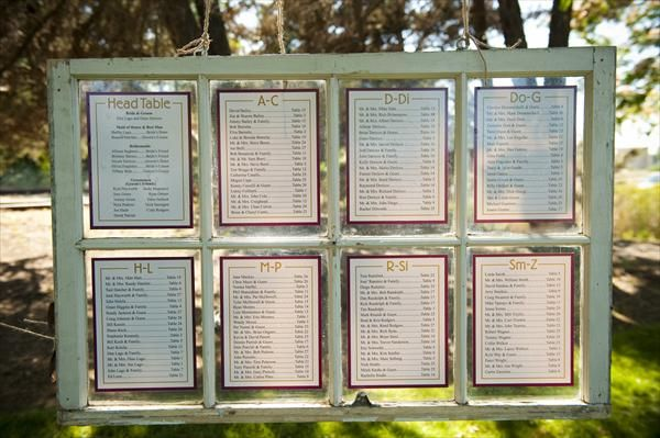 Cabin assignments in an old window frame - stylish way to show guests where they will be staying for the weekend!  Just thrift an old window, paint in your wedding colors, and print out a list of the cabin assignments!