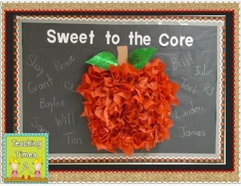 """Now your kiddos can be """"Sweet to the Core"""" with this cute apple bulletin board letters freebie with complete instructions on how to put this quick and very easy bulletin board together. Great for back to school or to use during the fall months."""