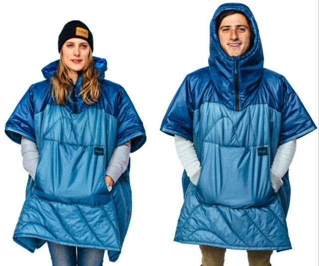 The puffy poncho is quite possibly the best garment ever made for the outdoors. Apart from being waterproof, it's lightweight, comes with a special pocket ideal for holding your drink, it's machine washable, and is infinitely more stylish than regular plastic ponchos.