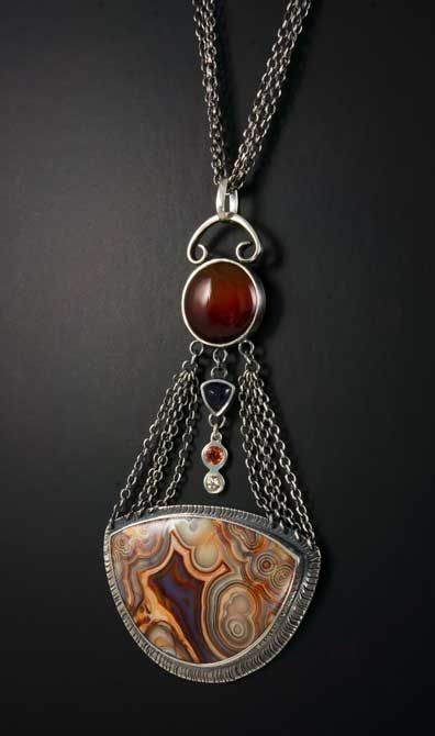 lace agate pendant by jan van diver jewelry and enamels