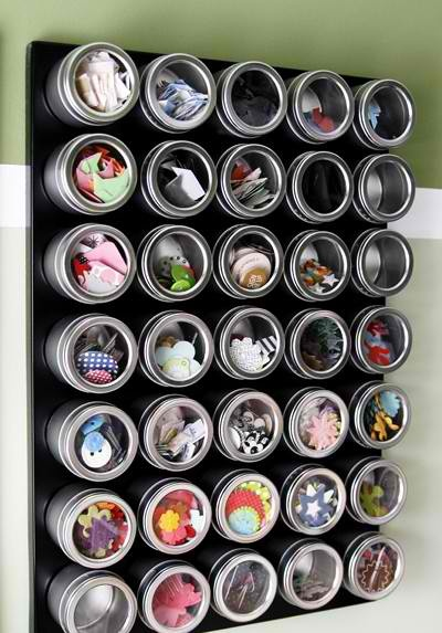 Put some of these magnetic containers on pegboard for pins/needles?
