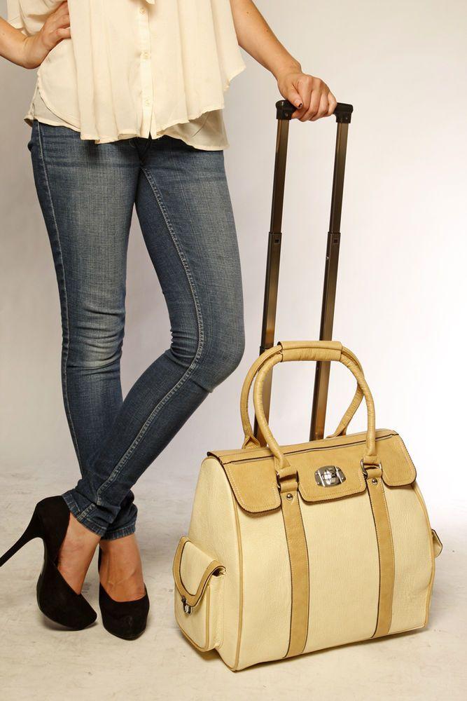 Ladies beige leather like rolling laptop tote bag