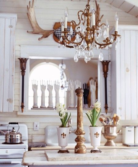 White & Weathered French Country Kitchen // Photographer Michael Alberstat // House & Home Kitchens 2007 special issue