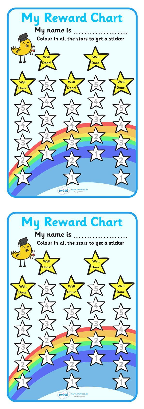 Colouring in reward charts - Twinkl Resources Reward Sticker Chart Stars Classroom Printables For Pre School Kindergarten Elementary School And Beyond