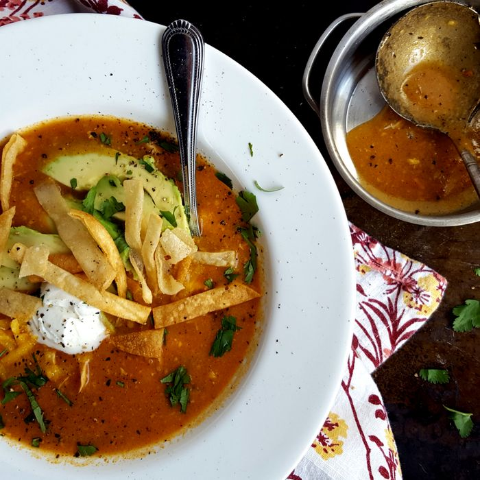 Enchilada Soup with Shredded Chicken-The Thin Pig-Taste Everything. Finish Nothing.