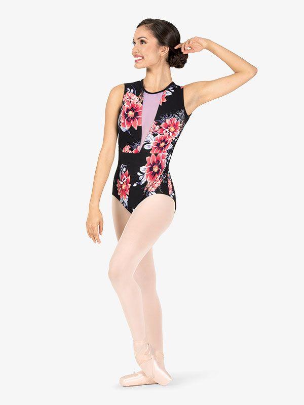 36147d4bdee3 Girls Purple Floral Tank Leotard hh Floral Dance wear Leotards