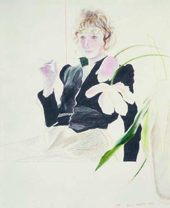 David Hockney - Celia in a black dress with white flowers (1972).