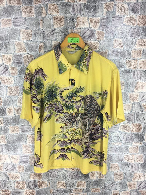 6cc101274 Vintage 80s HAWAIIAN CRAWLER'S Silk Shirt Medium Tiger Roar Animals Asian  Pattern Toyo Japan Sukajan Hawaii Surf Buttondown Rayon Shirt M