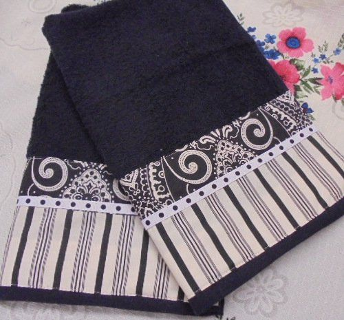 hand towels measure 16 x 28 i added a border to one end of each towel with brand new designer fabric brand new fabr - Kitchen Towels New Design