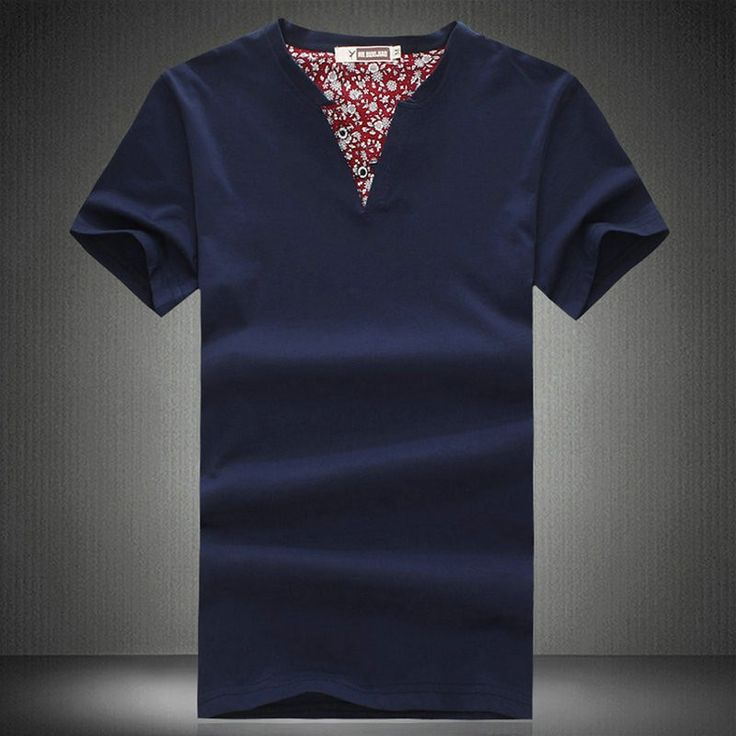 Chinese Style Navy Cotton V Collar Plus Size T-shirt for Men - iDreamMart.com