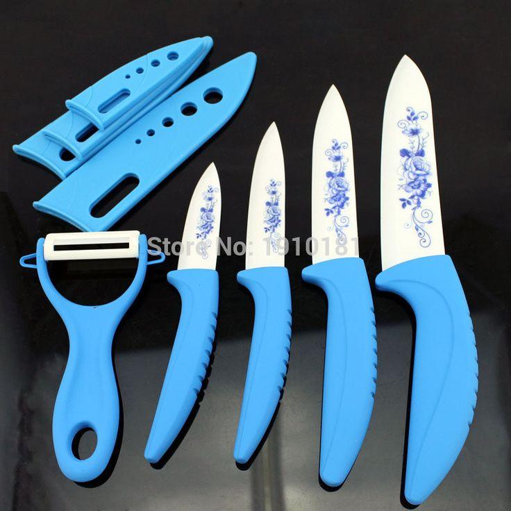 Циркония черно-белой печать клинок против небуксующий ручки 3  4  5  дюймовый нож + обложки + керамических ножей кухонные ножи освобождает hipping