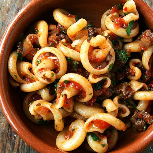 The perfect combination of pasta, veggies, and meat!