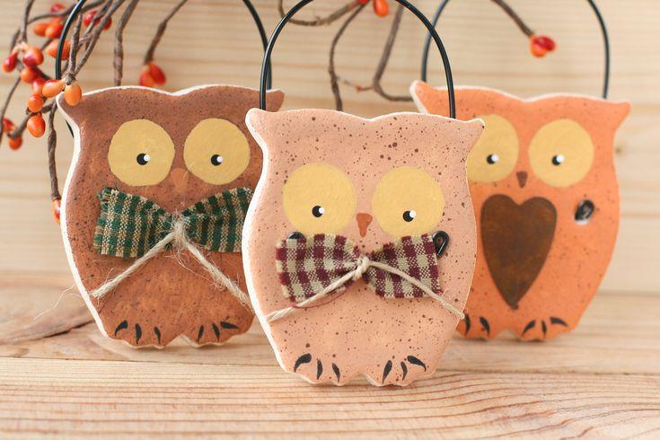 Owl salt dough hanging ornaments, Woodland rustic decor, Primitive owl, Tree decor, Autumn tree decorations, Halloween decor, Party favors