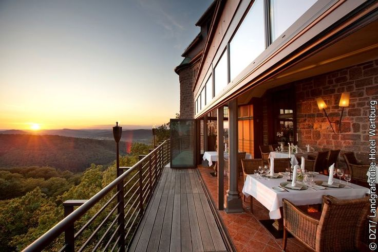 """Enjoy the beautiful sunset with a perfect dinner at the hotel """"Landgrafstube"""" in the Wartburg Castle in the green heart of Germany - the Thuringian Forest."""