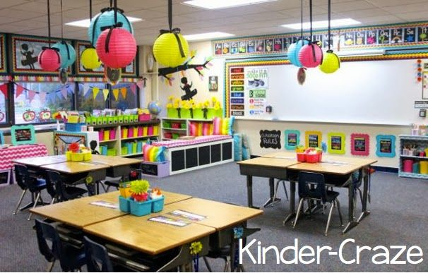 Creator of Kinder Craze Maria Manore FINALLY unveils her new classroom with a ton of pictures, links to products she uses, and help from School Girl Style!