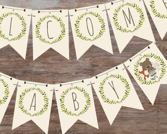 Lovely Woodland child bathe banner, welcome child banner, printable banner, woodland child bathe decor, child bathe decorations
