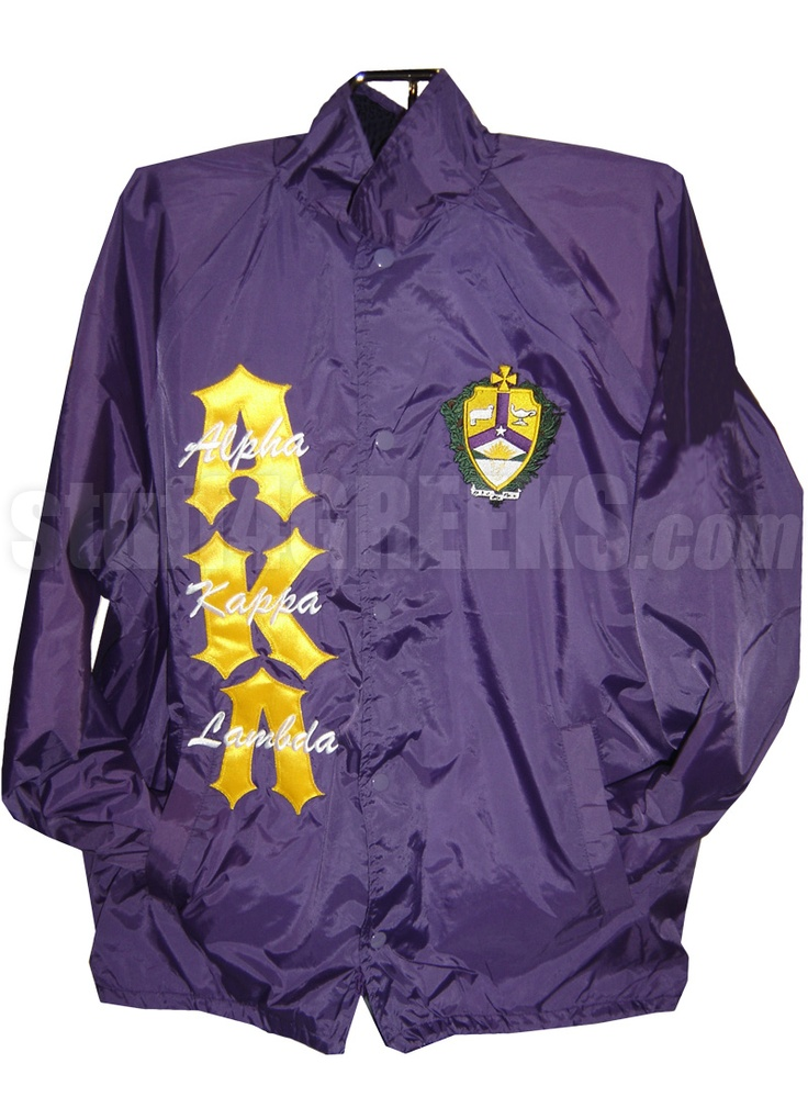 ALPHA KAPPA LAMBDA LINE JACKET WITH NAME THRU GREEK LETTERS AND CREST, PURPLE/WHITE  Item Id: PRE-XJ-AKL-BASIC-LTR-THRU-CREST-PRL    Price: $109.00
