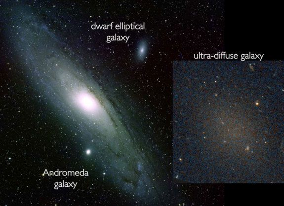 The ultra-diffuse galaxy Dragonfly 17, shown in comparison to the large Andromeda galaxy and the elliptical dwarf galaxy NGC 205.