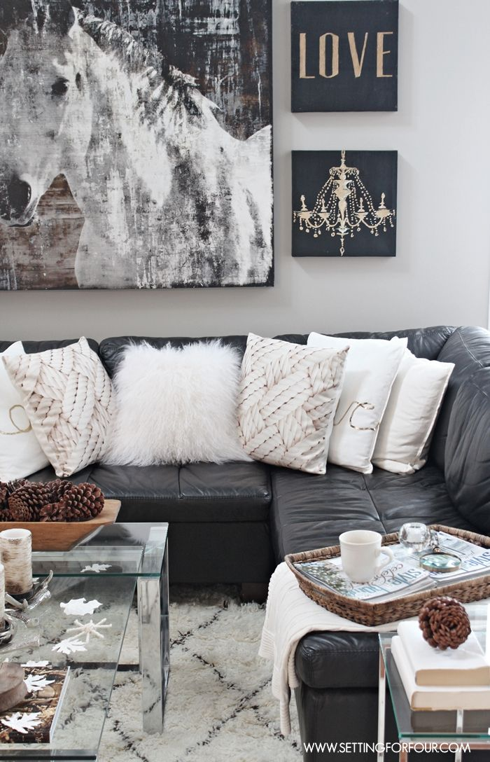Gray And White Transitional Rustic Living Room With: Rustic Glam Living Room + New Rug