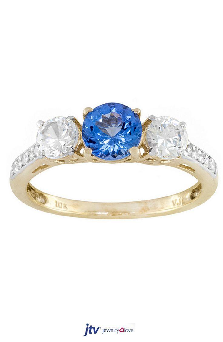 65ct Round Blue Tanzanite With 65ctw Round White Zircon 10k Yellow Gold  Ring