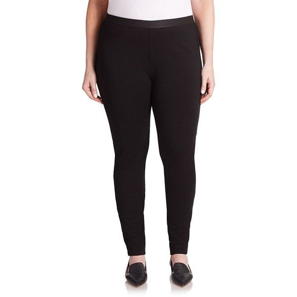 Eileen Fisher, Plus Size Ponte Leggings ($99) ❤ liked on Polyvore featuring plus size women's fashion, plus size clothing, plus size pants, plus size leggings, apparel & accessories, black, plus size ponte knit pants, ponte pants, legging pants and plus size pull on pants