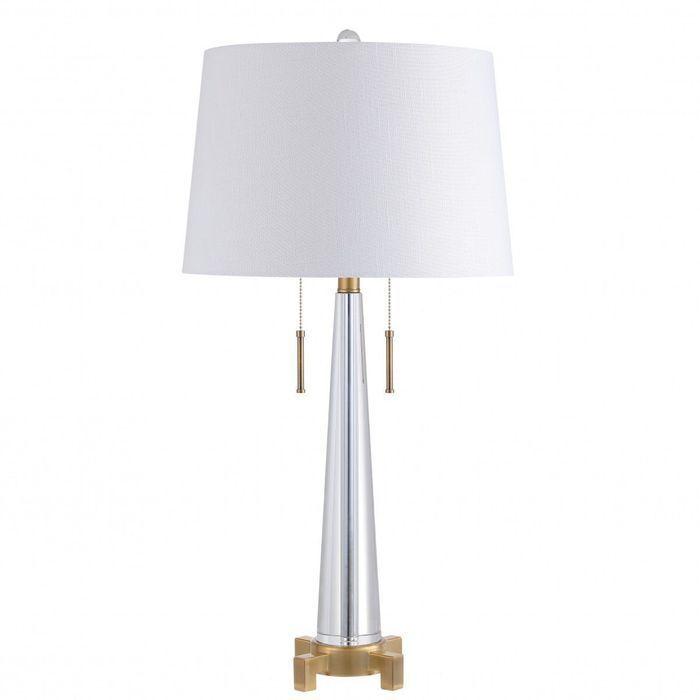 Decker 29 5 2 Light Crystal Led Table Lamp Clear Brass Gold Eyely Led Table Lamp Energy Efficient Light Bulbs Table Lamp