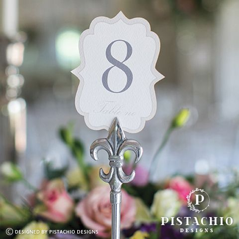 Modern wedding table number by www.pistachiodesigns.co.za