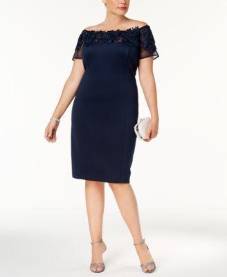 3bb5c2db7a3 SL Fashions Plus Size Lace-Appliqué Off-The-Shoulder Dress