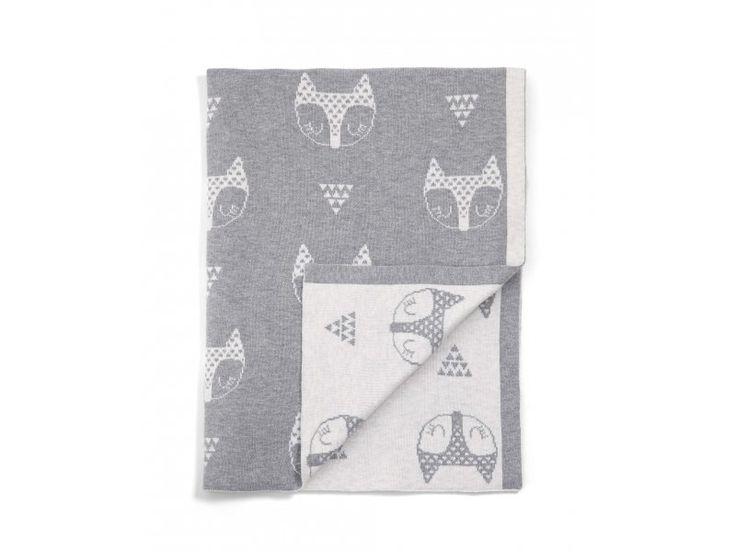 MAMAS & PAPAS Pletená deka Lišky šedá | Kašpárek Baby