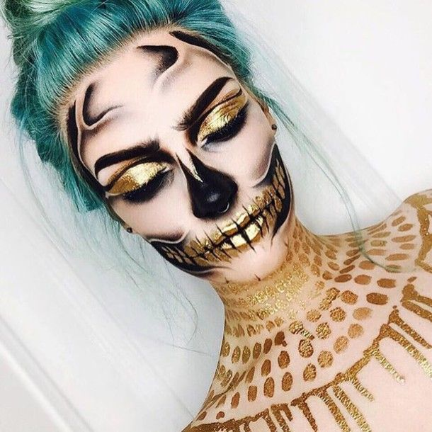Make-up: halloween makeup halloween halloween accessory gold green hair skeleton