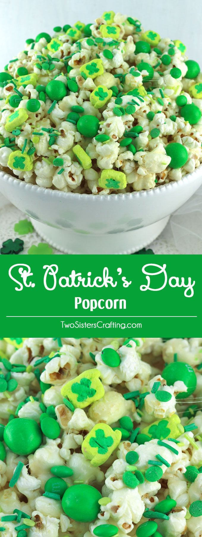 St. Patrick's Day Popcorn - a fun St. Patrick's Day treat. Sweet, salty, crunchy and delicious and it is so easy to make. You won't need the luck of the Irish to make this easy St. Patrick's Day dessert.