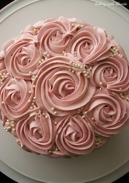 White Chocolate Raspberry Buttercream Frosting Recipe (beautiful frosting job on this cake!) Tutorial link for the roses; http://iambaker.net/rose-cake-tutorial/