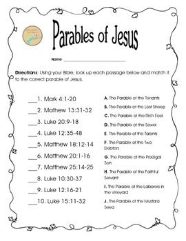 This worksheet was designed to get your students reading 10 Parables of Jesus. After reading each passage they will identify which parable was represented. It should help your students remember where certain parables are located and get your students discussing the parables. *Use this after your students use the Parable of Jesus Task Cards.