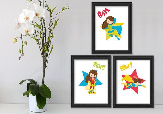 3 Printable Super Hero Girls Wall Art Printable Wall by Suselis