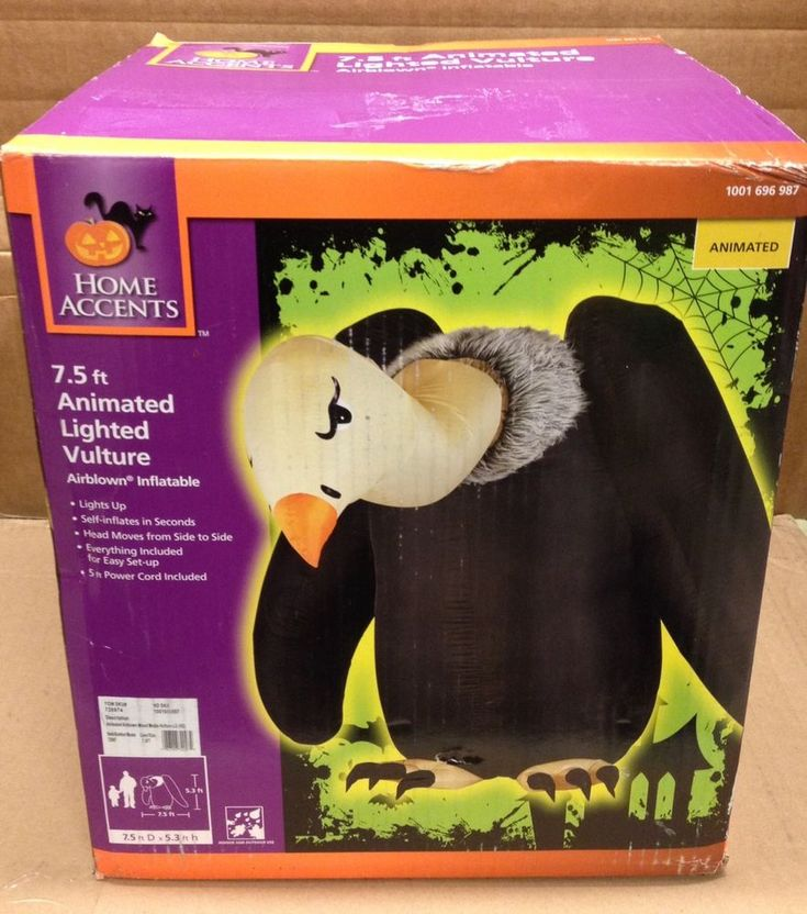 Animated Vulture Moving Head Airblown Inflatable Gemmy Halloween Yard Prop Decor