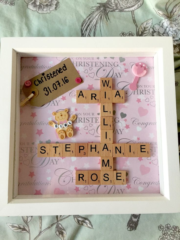 A personal favourite from my Etsy shop https://www.etsy.com/uk/listing/476786209/personalised-christening-shadow-box-art