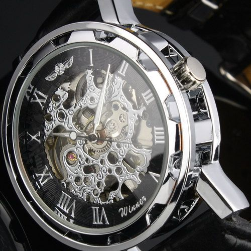 Steampunk Mens gear watch  Silver with black by SchimmelsShop, $39.00