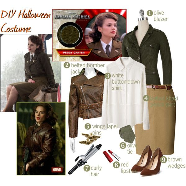 """DIY Halloween Costume: Peggy Carter"" by gakranz on Polyvore"