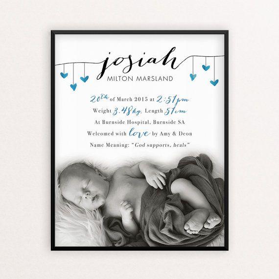 Hangende harten aangepaste geboorte Print / / door OhHappyDayStudios