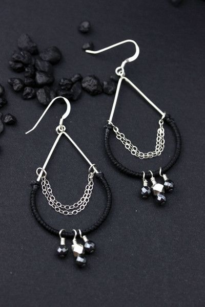 Sterling silver teardrop earrings wrapped in black waxed linen with Hematite drops