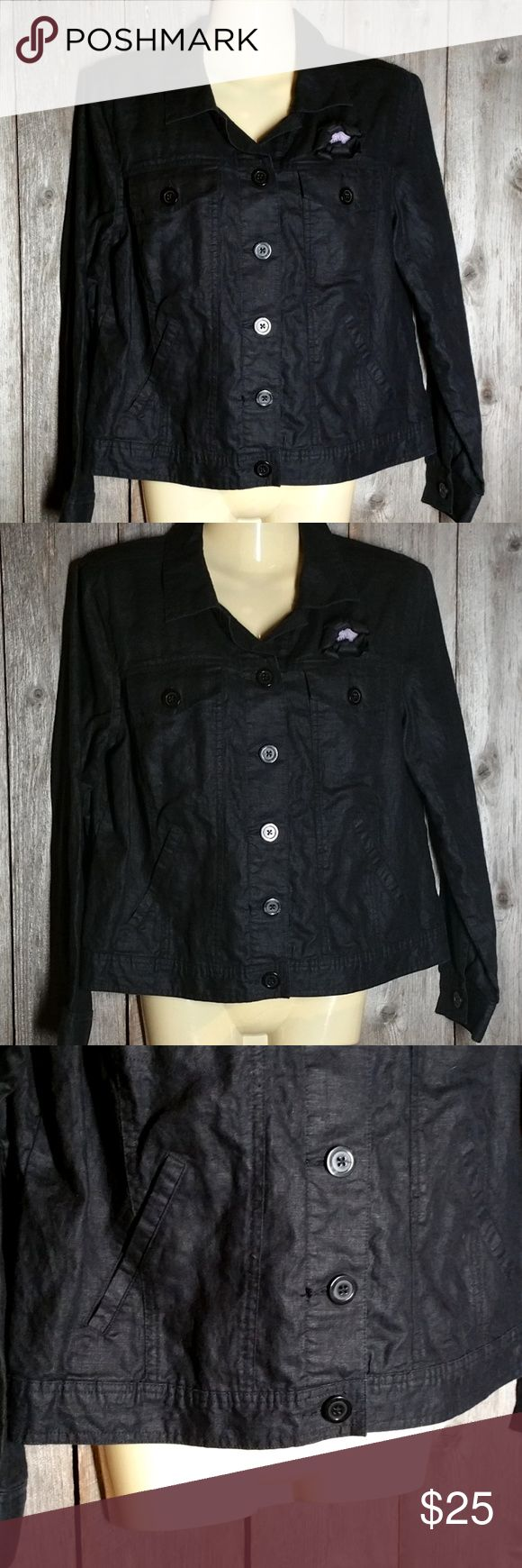 "Linden Hill S Jacket Blazer Top Black Linen Linden Hill S Jacket Blazer Top Black Linen Button Front With Flower Rosette Approx bust 39"" Length from top of shoulder 21"" The flower is a pin so you can remove it Gently used condition Linen Unlined Button front Lightweight Linden Hill Tops Button Down Shirts"