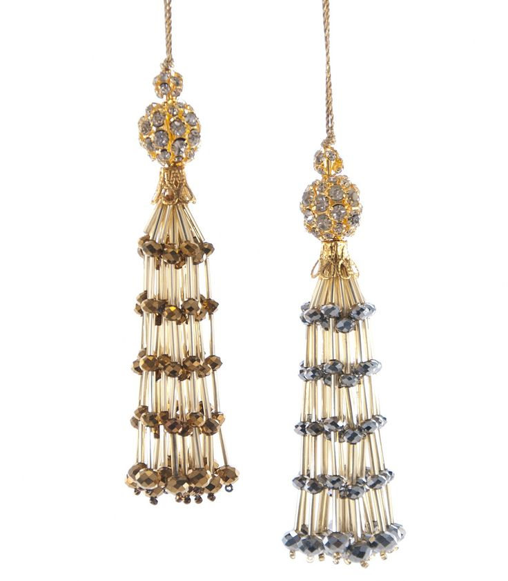 """Katherine's Collection Celestial Fantasy Christmas Collection Twelve Assorted 5"""" Faceted Jeweled And Beaded Tassel Ornaments"""