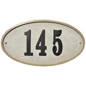 """Ridgestone Sandstone Finish Oval Address Plaque by Lamps Plus. $55.91. Ensure that visitors and deliveries will easily find your home with a stately address plaque. Constructed of real crushed stone mixed with resin and surrounded by a polished stone border, this address plaque is classic and grand. It features 4"""" high black numbers and comes with mounting hardware. The do it yourself kit is fun and easy to assemble. Stone and resin construction. Polished stone border. Sa..."""