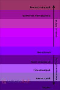 Холодные и теплые тона фиолетового цвета