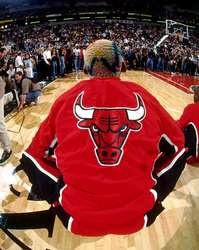 Dennis Rodman #91 of the Chicago Bulls stretches out before playing against the Seattle SuperSonics in Game Four of the 1996 NBA Finals  http://www.fansedge.com/Dennis-Rodman-Chicago-Bulls-1996-_-1358524918_PD.html?social=pinterest_pfid77-25730