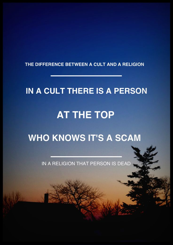 The Difference between Cults and Religions. Oh, wait, I think Scientology qualifies as both in this case.