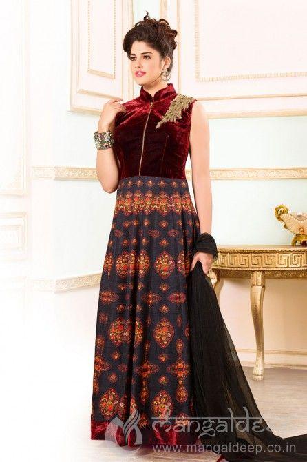 http://www.mangaldeep.co.in/salwar-kameez/ready-made-salwar-kameez/spectacular-izabelle-leite-maroon-black-velvet-art-silk-readymade-partywear-anarkali-suit-7245 For more details contact us : +919377222211 (whatsapp available)
