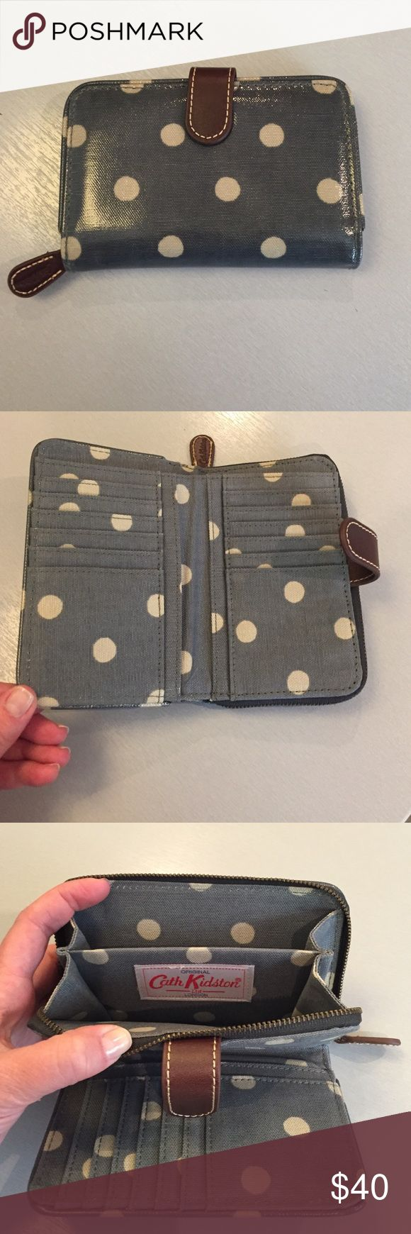 Cath Kidston button spot folded zip wallet Classic, retro designed wallet by Cath Kidston of London.  Perfectly proportioned with an assortment of slots and pockets for your cards, coins and cash!  Retro spot gives it extra appeal! Cath Kidston Bags Wallets