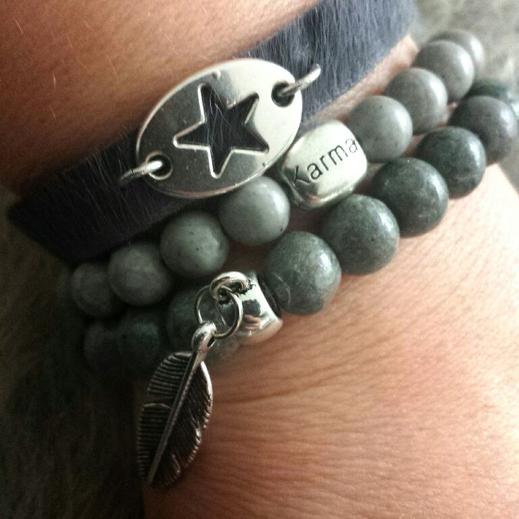 @ gewoonsfeer.nl #bracelets #grey #star #karma #feather #metal #basic #webshop