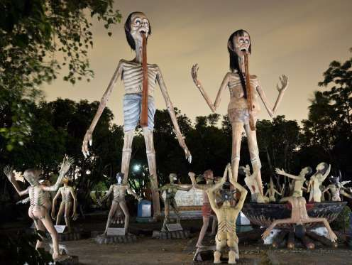 """WANG SAEN SUK HELL GARDEN - THAILAND Travel bloggers sometimes call this spot near Bangkok the """"Thailand Hell Horror Park."""" Graphic statues in this monastery garden depict scenes from a Buddhist interpretation of hell."""